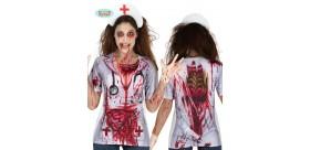 Camiseta enfermera zombie