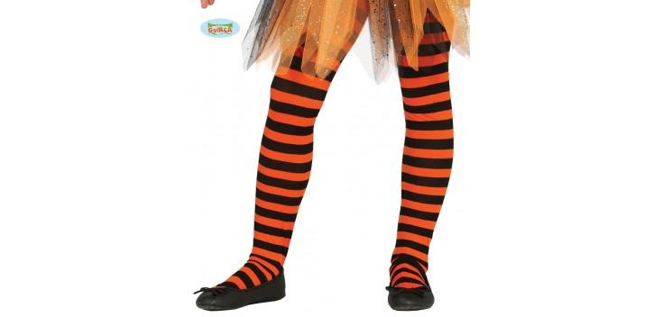 Pantys naranjas con rayas infantiles. 5 a 9 años