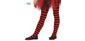 Pantys rojos con rayas infantiles. 5 a 9 años