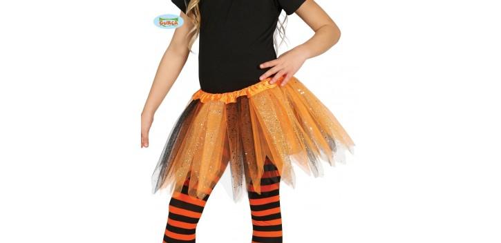 Tutú infantil brillante naranja y negro