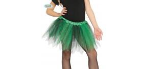 Tutú infantil brillante verde y negro