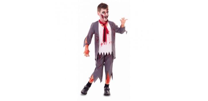 Disfraz de colegial zombi niño