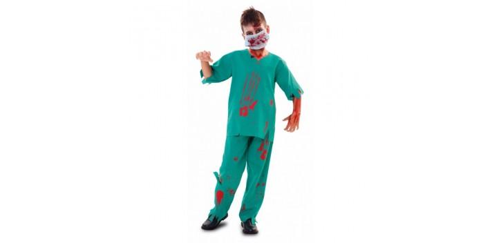 Disfraz de médico zombi niño