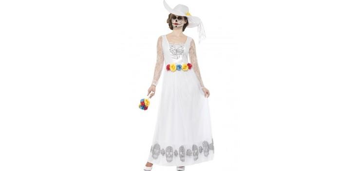 Esqueleto de novia del día de muertos blanco.