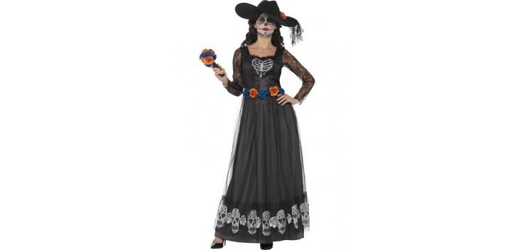 Esqueleto de novia del día de muertos negro.