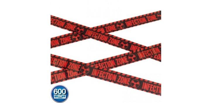 Cinta Precaución: zona de infección zombi rojo y negro