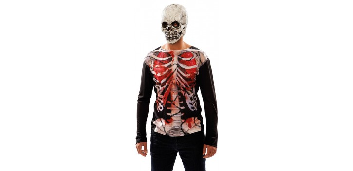 Disfraz de Camisa esqueleto zombi