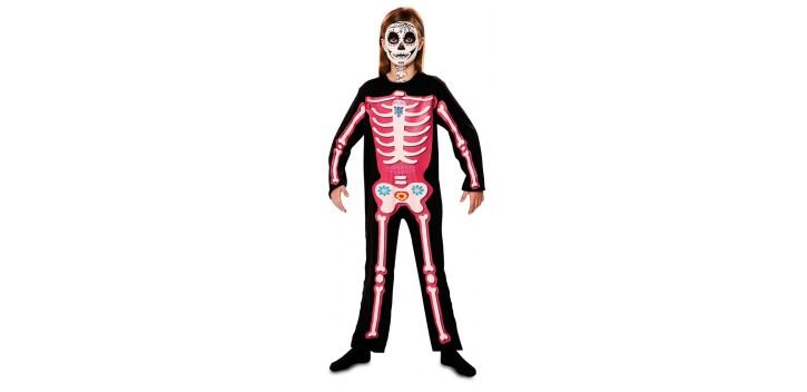 Disfraz de Esqueleto día de muertos rosa