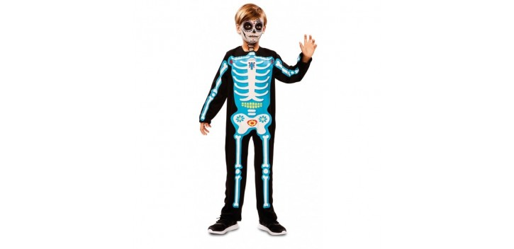 Disfraz de Esqueleto día de muertos azul
